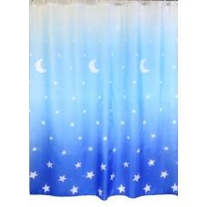 "Шторы для ванной комнаты полиэстер ""ZALEL"" 180*200, 180/180 Артикул 022 blue"