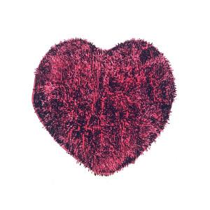 "Коврик д/ван.комн."" Макароны "" латекс 70*80 сердце блестящие бордо"