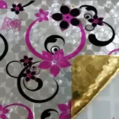 Клеенка Transparent Golden/Silver embossed PVC Tableclot 140*20 с рисунком QZ008C