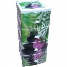 """Комод 4-секц. Декор """"Орхидея"""" белый (моно рис.)"""
