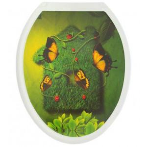 Крышка для унитаза (жесткое) Конкорд фотопринт Бабочка на траве
