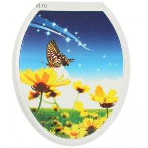 Крышка для унитаза (жесткое) Конкорд фотопринт Бабочка на цветке
