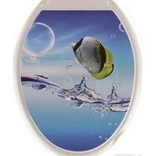 Крышка д/унитаза (жесткое) Конкорд тропическая рыба