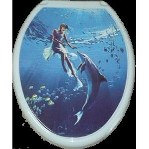 Крышка д/унитаза (жесткое) Конкорд девушка с дельфином