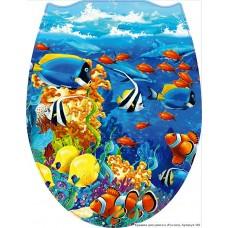 106 Крышка для унитаза пластик ФОТОПРИНТ Морское дно (RUS)