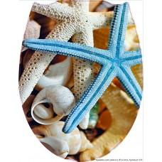 124 Крышка для унитаза пластик ФОТОПРИНТ Морская звезда (RUS)