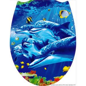 127 Крышка для унитаза пластик ФОТОПРИНТ Дельфины (RUS)