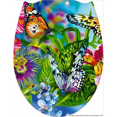 129 Крышка для унитаза пластик ФОТОПРИНТ Бабочки (RUS)