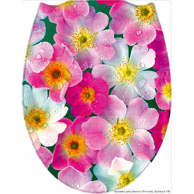 146 Крышка для унитаза пластик ФОТОПРИНТ Цветы (RUS)