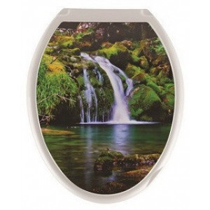 Крышка для унитаза (жесткое) Конкорд фотопринт Водопад