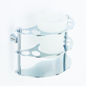 1057 Держатель зубн\щеток настенный со стаканом латунь
