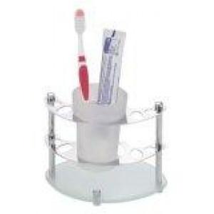 1059 Держатель зубн\щеток настольный со стаканом латунь
