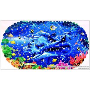 SPA-коврик фотопринт 67*36см, овал (дельфины)
