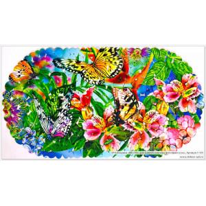 SPA-коврик фотопринт 67*36см, овал (бабочки)