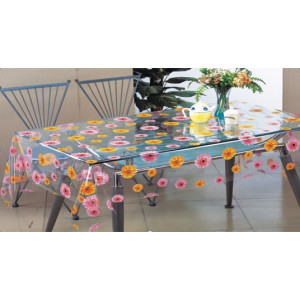 Клеенка Transparent PVC Tablecloth 1,37*30 прозрачная с рисунком TT-2500