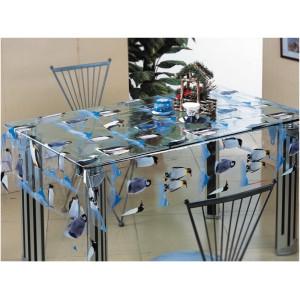 Клеенка Transparent PVC Tablecloth 1,37*30 прозрачная с рисунком TT-2542