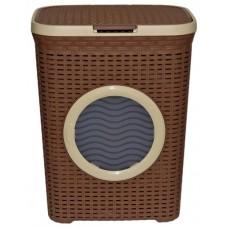 Корзина для белья 60 л. с иллюминатором (какао)
